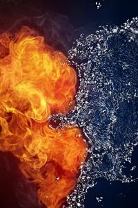 Vorschau Feuer und Wasser Herz Handy Logo